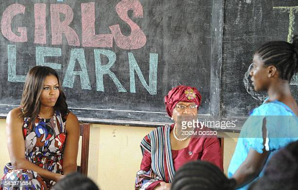 USA first lady Michelle Obama looks on as she visits a woman education program in Monrovia on June 27 2016 US First Lady Michelle Obama told girls in...