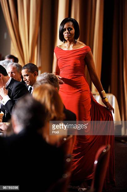 First Lady Michelle Obama looks on during the White House Correspondents' Association Dinner at the Washington Hilton May 1 2010 in Washington DC