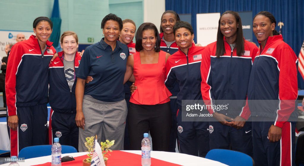 First Lady <a gi-track='captionPersonalityLinkClicked' href=/galleries/search?phrase=Michelle+Obama&family=editorial&specificpeople=2528864 ng-click='$event.stopPropagation()'>Michelle Obama</a> meets (L-R) <a gi-track='captionPersonalityLinkClicked' href=/galleries/search?phrase=Candace+Parker&family=editorial&specificpeople=752955 ng-click='$event.stopPropagation()'>Candace Parker</a>, <a gi-track='captionPersonalityLinkClicked' href=/galleries/search?phrase=Lindsay+Whalen&family=editorial&specificpeople=208984 ng-click='$event.stopPropagation()'>Lindsay Whalen</a>, Assistant Coach <a gi-track='captionPersonalityLinkClicked' href=/galleries/search?phrase=Jennifer+Gillom&family=editorial&specificpeople=2485395 ng-click='$event.stopPropagation()'>Jennifer Gillom</a>, <a gi-track='captionPersonalityLinkClicked' href=/galleries/search?phrase=Seimone+Augustus&family=editorial&specificpeople=540457 ng-click='$event.stopPropagation()'>Seimone Augustus</a>, <a gi-track='captionPersonalityLinkClicked' href=/galleries/search?phrase=Sylvia+Fowles&family=editorial&specificpeople=707903 ng-click='$event.stopPropagation()'>Sylvia Fowles</a>, <a gi-track='captionPersonalityLinkClicked' href=/galleries/search?phrase=Angel+McCoughtry&family=editorial&specificpeople=4423621 ng-click='$event.stopPropagation()'>Angel McCoughtry</a>, <a gi-track='captionPersonalityLinkClicked' href=/galleries/search?phrase=Tina+Charles+-+Basketspelare&family=editorial&specificpeople=7137931 ng-click='$event.stopPropagation()'>Tina Charles</a> and <a gi-track='captionPersonalityLinkClicked' href=/galleries/search?phrase=Asjha+Jones&family=editorial&specificpeople=214644 ng-click='$event.stopPropagation()'>Asjha Jones</a> of the 2012 Team USA at the University of East London on July 27, 2012 in London, England. <a gi-track='captionPersonalityLinkClicked' href=/galleries/search?phrase=Michelle+Obama&family=editorial&specificpeople=2528864 ng-click='$event.stopPropagation()'>Michelle Obama</a> addressed members of the 2012 Team USA as leader of the US Olympics delegation, ahead of opening ceremony for the Olympics.
