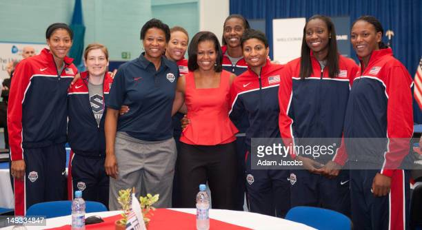 First Lady Michelle Obama meets Candace Parker Lindsay Whalen Assistant Coach Jennifer Gillom Seimone Augustus Sylvia Fowles Angel McCoughtry Tina...