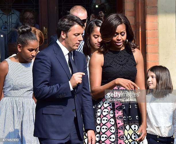 US First Lady Michelle Obama meets Italian Prime Minister Matteo Renzi during a visit at the Cenacolo a mural painting by Leonardo da Vinci in the...