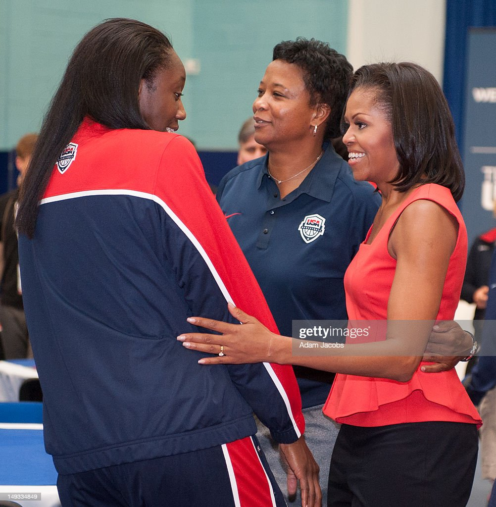 First Lady <a gi-track='captionPersonalityLinkClicked' href=/galleries/search?phrase=Michelle+Obama&family=editorial&specificpeople=2528864 ng-click='$event.stopPropagation()'>Michelle Obama</a> meets members of the 2012 Team USA at the University of East London on July 27, 2012 in London, England. <a gi-track='captionPersonalityLinkClicked' href=/galleries/search?phrase=Michelle+Obama&family=editorial&specificpeople=2528864 ng-click='$event.stopPropagation()'>Michelle Obama</a> addressed members of the 2012 Team USA as leader of the US Olympics delegation, ahead of opening ceremony for the Olympics.