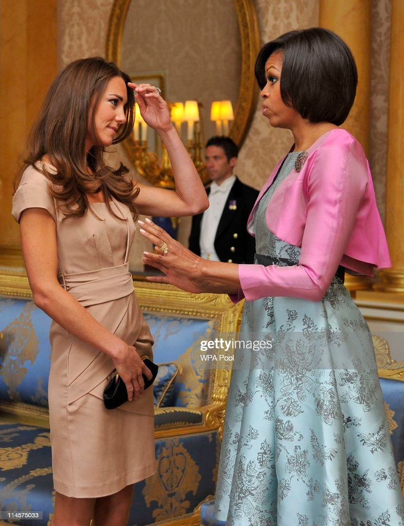 US First Lady <a gi-track='captionPersonalityLinkClicked' href=/galleries/search?phrase=Michelle+Obama&family=editorial&specificpeople=2528864 ng-click='$event.stopPropagation()'>Michelle Obama</a> (R) meets with <a gi-track='captionPersonalityLinkClicked' href=/galleries/search?phrase=Catherine+-+Duchess+of+Cambridge&family=editorial&specificpeople=542588 ng-click='$event.stopPropagation()'>Catherine</a>, Duchess of Cambridge at Buckingham Palace on May 24, 2011 in London, England. The 44th President of the United States, Barack Obama, and his wife Michelle are in the UK for a two day State Visit at the invitation of HM Queen Elizabeth II. During the trip they will attend a state banquet at Buckingham Palace and the President will address both houses of parliament at Westminster Hall.