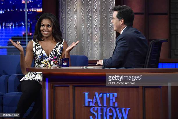 First Lady Michelle Obama on The Late Show with Stephen Colbert Monday Sept 28 2015 on the CBS Television Network