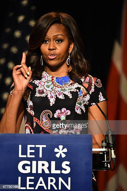 First Lady Michelle Obama points her finger as she speaks to students as part of the 'Let Girls Learn Initiative' at the Mulberry School for Girls on...