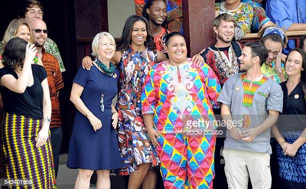 US First Lady Michelle Obama poses with members of the US peace corps in Monrovia during her visit to Liberia on June 27 2016 Michelle Obama told...