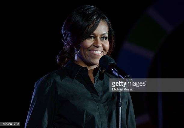 First Lady Michelle Obama presents onstage at the 2015 Global Citizen Festival to end extreme poverty by 2030 in Central Park on September 26 2015 in...