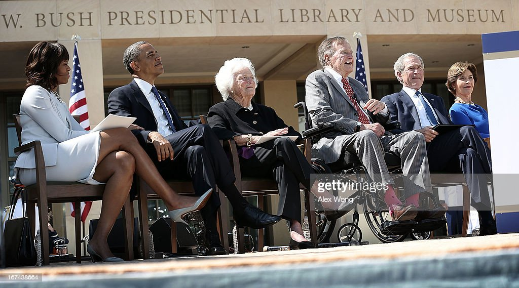 US first lady Michelle Obama President Barack Obama former first lady Barbara Bush former President George HW Bush former President George W Bush and...