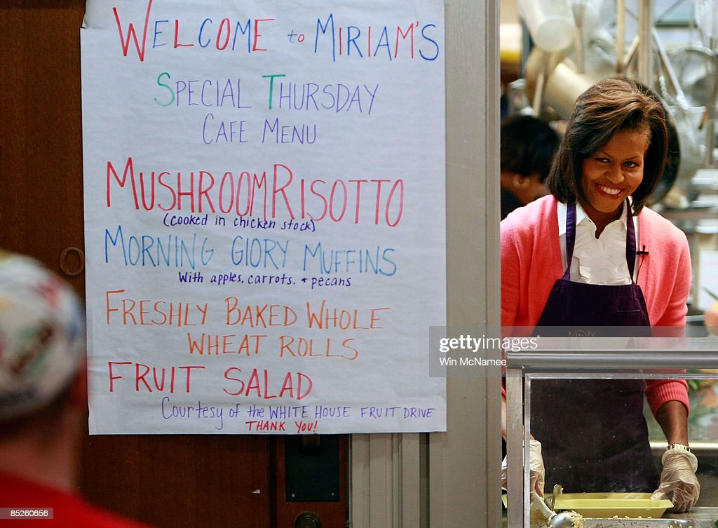 U.S. First Lady Michelle Obama Serves Lunch At Miriamu0027s Kitchen Which  Provides Meals, Case Management