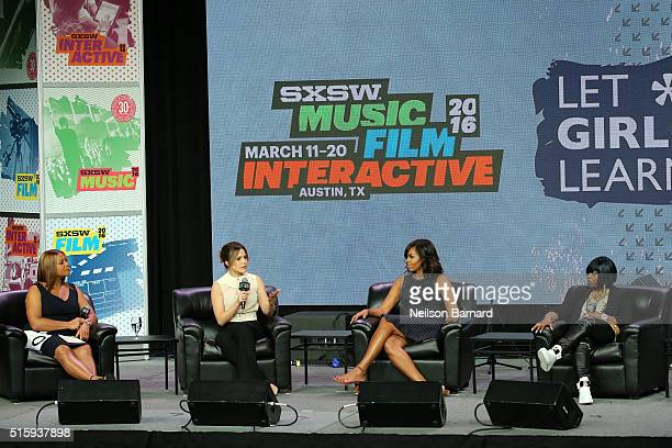 First Lady Michelle Obama Sophia Bush Queen Latifah and Missy Elliott speak on stage during the SXSW Keynote Michelle Obama during 2016 SXSW Music...