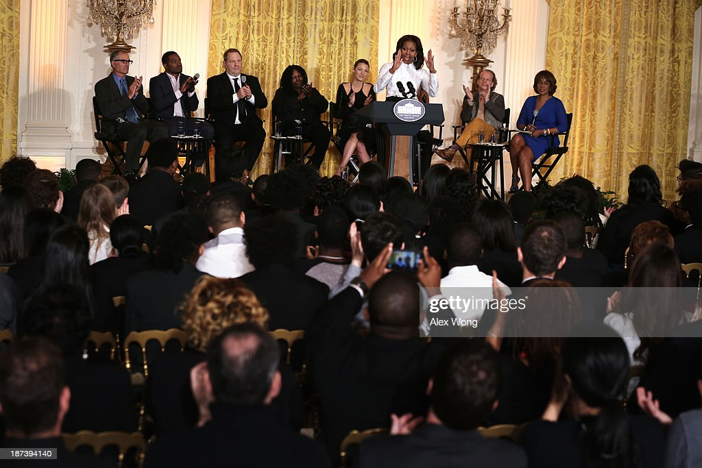 U.S. first lady <a gi-track='captionPersonalityLinkClicked' href=/galleries/search?phrase=Michelle+Obama&family=editorial&specificpeople=2528864 ng-click='$event.stopPropagation()'>Michelle Obama</a> speaks as (L-R) director David Frankel, director <a gi-track='captionPersonalityLinkClicked' href=/galleries/search?phrase=Ryan+Coogler&family=editorial&specificpeople=7316581 ng-click='$event.stopPropagation()'>Ryan Coogler</a>, production executive <a gi-track='captionPersonalityLinkClicked' href=/galleries/search?phrase=Harvey+Weinstein&family=editorial&specificpeople=201749 ng-click='$event.stopPropagation()'>Harvey Weinstein</a>, actress <a gi-track='captionPersonalityLinkClicked' href=/galleries/search?phrase=Whoopi+Goldberg&family=editorial&specificpeople=202463 ng-click='$event.stopPropagation()'>Whoopi Goldberg</a>, actress <a gi-track='captionPersonalityLinkClicked' href=/galleries/search?phrase=Blake+Lively&family=editorial&specificpeople=221673 ng-click='$event.stopPropagation()'>Blake Lively</a>, producer <a gi-track='captionPersonalityLinkClicked' href=/galleries/search?phrase=Bruce+Cohen&family=editorial&specificpeople=820103 ng-click='$event.stopPropagation()'>Bruce Cohen</a>, and editor-at-large of The Oprah Magazine <a gi-track='captionPersonalityLinkClicked' href=/galleries/search?phrase=Gayle+King&family=editorial&specificpeople=215469 ng-click='$event.stopPropagation()'>Gayle King</a> listen during a workshop for high school students from DC, New York and Boston about careers in film production November 8, 2013 at the East Room of the White House in Washington, DC. Students had an opportunity to hear from leaders in the industry about animation, special effects, makeup, costume, directing, music and sound effects.