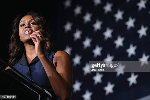 First Lady Michelle Obama speaks as she campaigns for former Florida Governor and now Democratic gubernatorial candidate Charlie Crist during an...