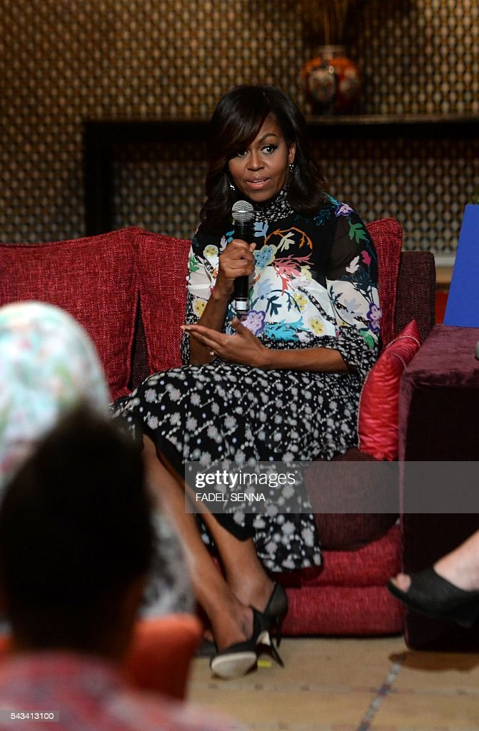 US first lady Michelle Obama speaks as she meets Moroccan young women following the 'Let Girls Learn' Program on June 28, 2016 in the Western Moroccan city of Marrakesh. US First Lady Michelle Obama began a two day visit to Morocco to participate in a CNN-moderated conversation with adolescent girls on the challenges they face in getting a quality education. / AFP / FADEL