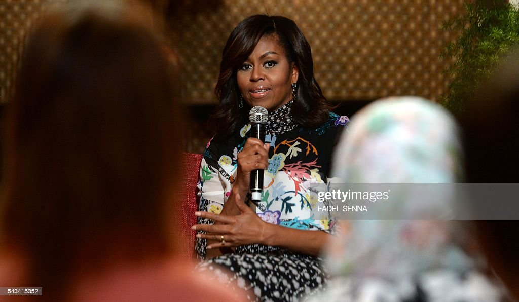 US first lady Michelle Obama speaks as she meets with Moroccan young women following the 'Let Girls Learn' Program on June 28, 2016 in the Western Moroccan city of Marrakesh. US First Lady Michelle Obama began a two day visit to Morocco to participate in a CNN-moderated conversation with adolescent girls on the challenges they face in getting a quality education. / AFP / FADEL