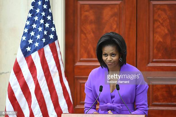 First lady Michelle Obama speaks at a ribbon cutting ceremony to officially reopen the Charles Engelhard Court centerpiece of the newly renovated...