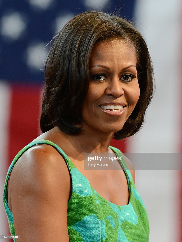 First Lady <a gi-track='captionPersonalityLinkClicked' href=/galleries/search?phrase=Michelle+Obama&family=editorial&specificpeople=2528864 ng-click='$event.stopPropagation()'>Michelle Obama</a> speaks at Barbara Goleman Senior High School during a campaign event on July 10, 2012 in Miami Lakes, Florida.