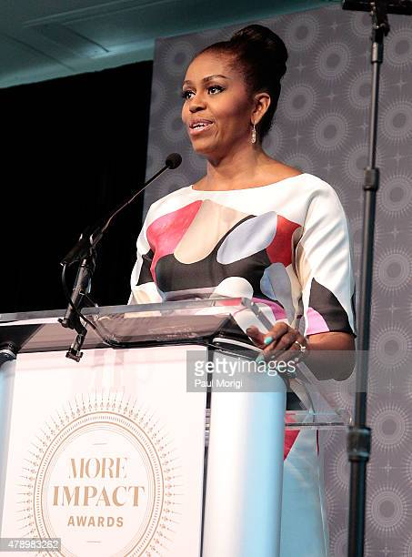 First Lady Michelle Obama speaks at the 2015 MORE Impact Awards Luncheon at NEWSEUM on June 29 2015 in Washington DC