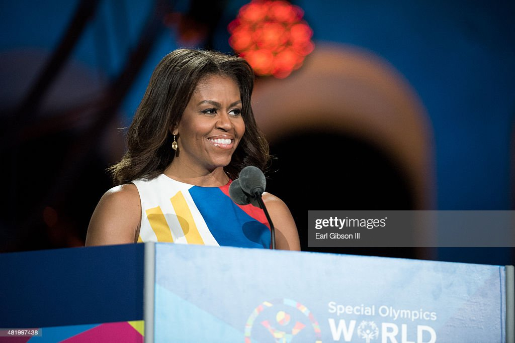 First Lady <a gi-track='captionPersonalityLinkClicked' href=/galleries/search?phrase=Michelle+Obama&family=editorial&specificpeople=2528864 ng-click='$event.stopPropagation()'>Michelle Obama</a> speaks at the opening ceremony of the Special Olympics World Games Los Angeles 2015 at Los Angeles Memorial Coliseum on July 25, 2015 in Los Angeles, California.