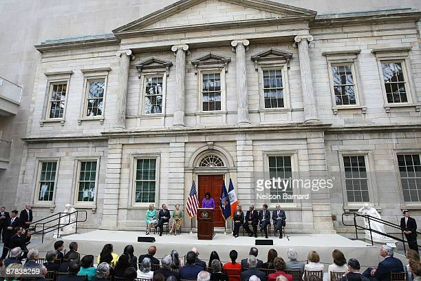 First lady Michelle Obama speaks at the ribbon cutting ceremony to officially reopen the Charles Engelhard Court centerpiece of the newly renovated...