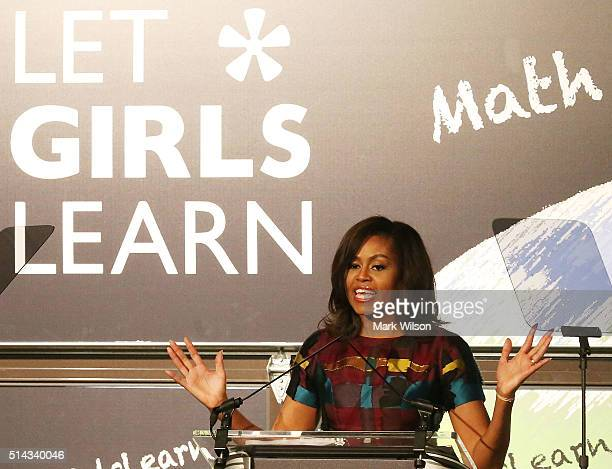 First lady Michelle Obama speaks at the Union Market to celebrate International Women's Day March 8 2016 in Washington DC First Lady Obama spoke to...