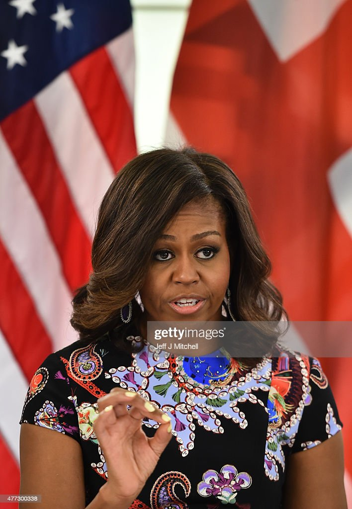 US First Lady Michelle Obama speaks during a 'Let Girls Learn' meeting as part of the 'Let Girls Learn Initiative' at the Mulberry School for Girls on June 16, 2015 in London, England. The US First Lady is travelling with her daughters, Malia and Sasha and her mother, Mrs. Marian Robinson, to continue a global tour promoting her 'Let Girls Learn Initiative'. The event at the school was to discuss how the UK and USA are working together to expand girl's education around the world.