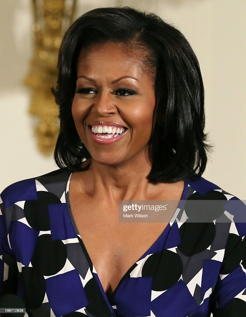 First lady <a gi-track='captionPersonalityLinkClicked' href=/galleries/search?phrase=Michelle+Obama&family=editorial&specificpeople=2528864 ng-click='$event.stopPropagation()'>Michelle Obama</a> speaks during an awards ceremony for the President's Committee on the Arts and the Humanities in the East Room at the White House on November 19, 2012 in Washington, DC. The first lady talked about the importance of afterschool and out of school arts and humanities education and presented awards recognizing programs across the country that benefit underserved youth.