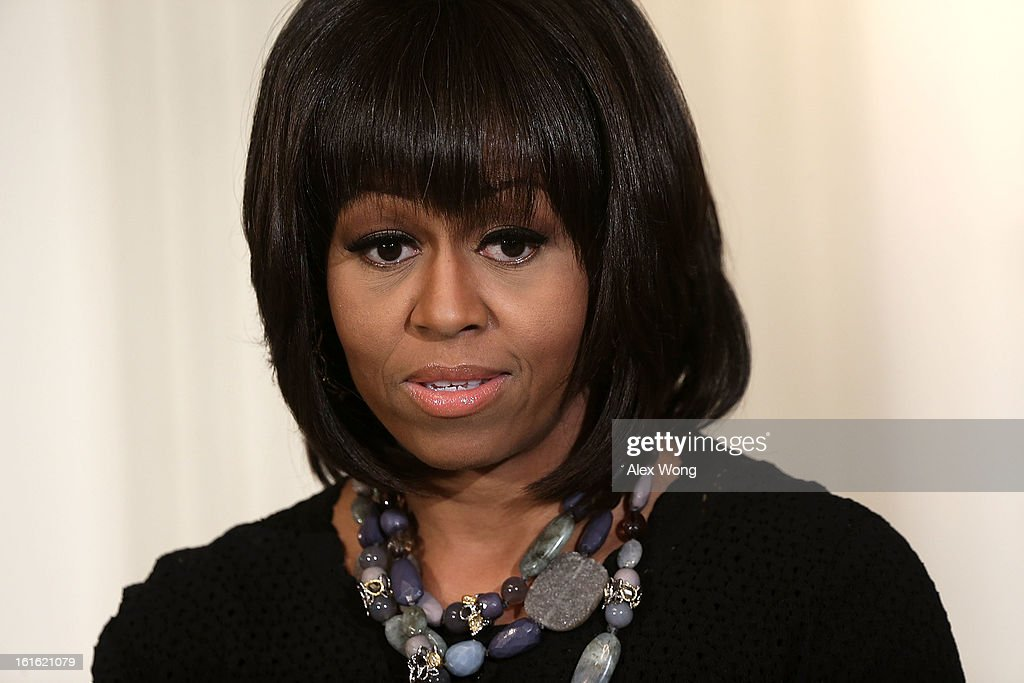 First lady <a gi-track='captionPersonalityLinkClicked' href=/galleries/search?phrase=Michelle+Obama&family=editorial&specificpeople=2528864 ng-click='$event.stopPropagation()'>Michelle Obama</a> speaks during an interactive student workshop with the cast and crew of the film Beasts of the Southern Wild at the State Dining Room of the White House February 13, 2013 in Washington, DC. The first lady hosted middle and high school students from the DC area and New Orleans to participate in the event.