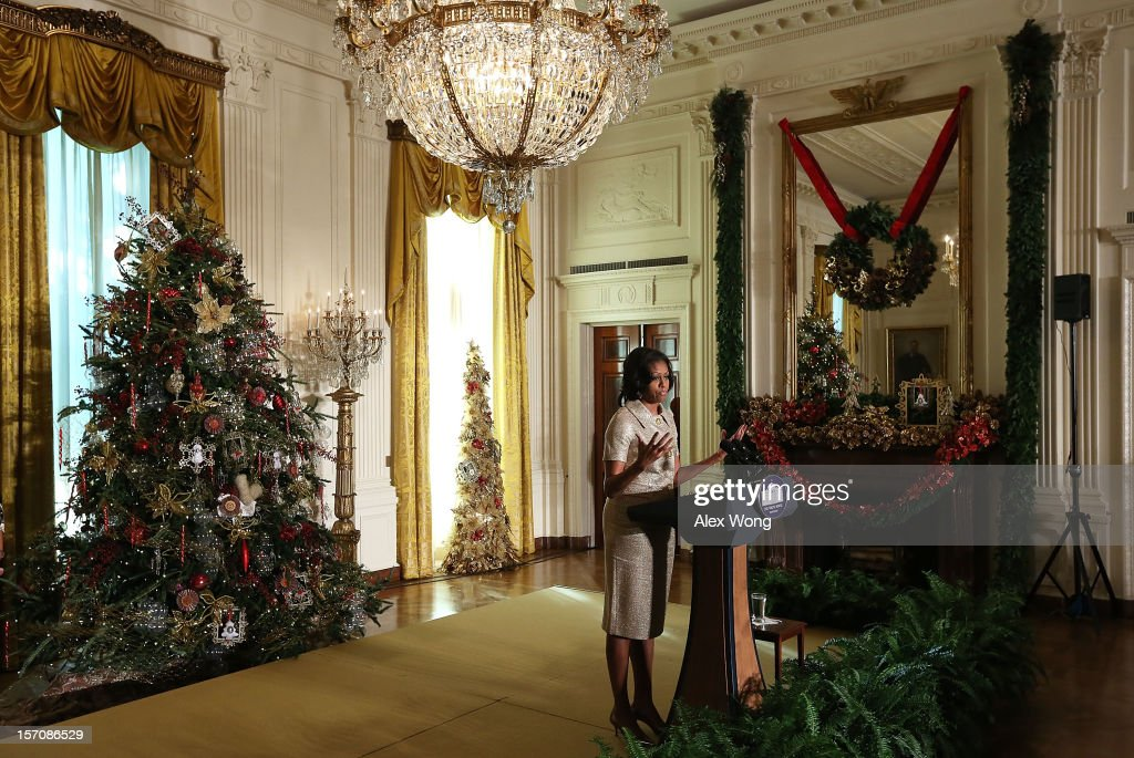 U.S. first lady <a gi-track='captionPersonalityLinkClicked' href=/galleries/search?phrase=Michelle+Obama&family=editorial&specificpeople=2528864 ng-click='$event.stopPropagation()'>Michelle Obama</a> speaks in the East Room during a preview of the 2012 White House holiday decorations November 28, 2012 at the White House in Washington, DC. The first lady welcomed military families, including Gold Star and Blue Star parents, spouses and children, to the White House for the first viewing of the 2012 holiday decorations.