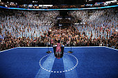 First lady Michelle Obama speaks on stage during day one of the Democratic National Convention at Time Warner Cable Arena on September 4 2012 in...