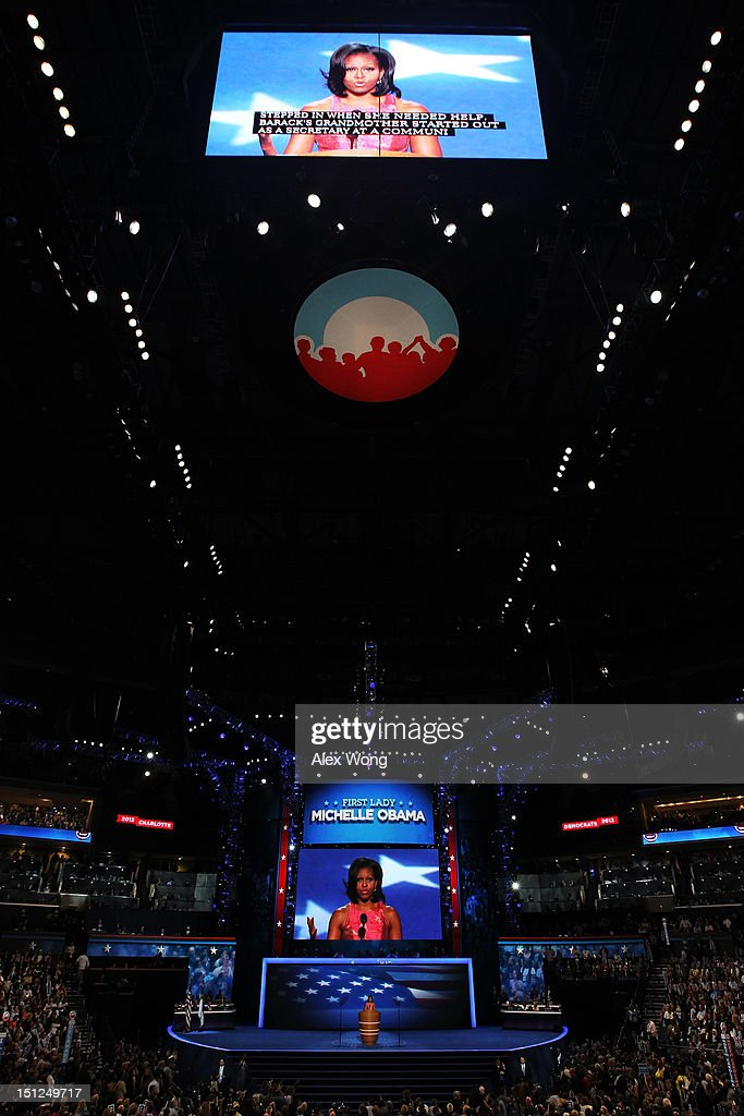 First lady <a gi-track='captionPersonalityLinkClicked' href=/galleries/search?phrase=Michelle+Obama&family=editorial&specificpeople=2528864 ng-click='$event.stopPropagation()'>Michelle Obama</a> speaks on stage during day one of the Democratic National Convention at Time Warner Cable Arena on September 4, 2012 in Charlotte, North Carolina. The DNC that will run through September 7, will nominate U.S. President Barack Obama as the Democratic presidential candidate.