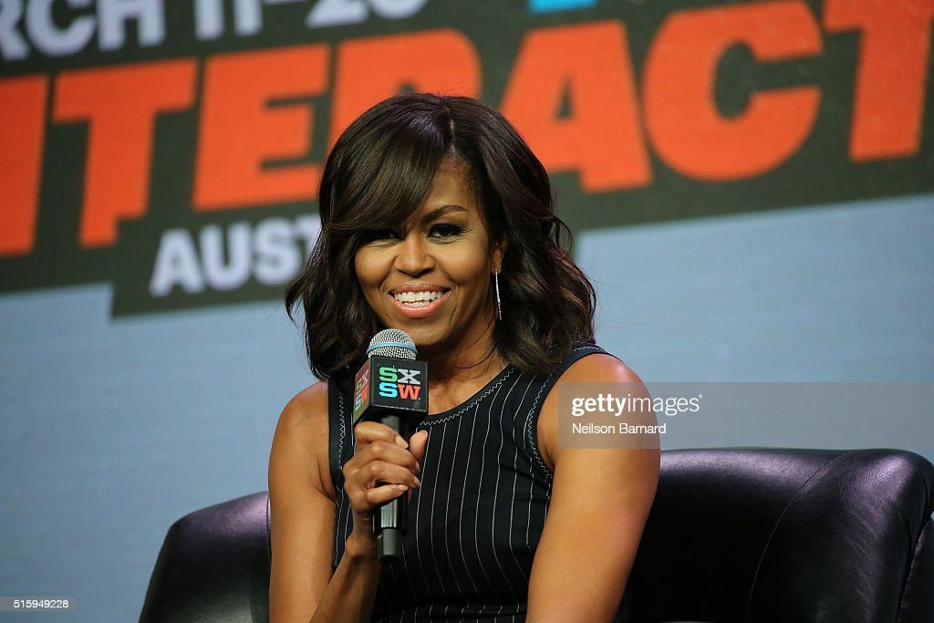 First Lady <a gi-track='captionPersonalityLinkClicked' href=/galleries/search?phrase=Michelle+Obama&family=editorial&specificpeople=2528864 ng-click='$event.stopPropagation()'>Michelle Obama</a> speaks on stage during the SXSW Keynote: <a gi-track='captionPersonalityLinkClicked' href=/galleries/search?phrase=Michelle+Obama&family=editorial&specificpeople=2528864 ng-click='$event.stopPropagation()'>Michelle Obama</a> during 2016 SXSW Music, Film + Interactive Festival at Austin Convention Center on March 16, 2016 in Austin, Texas.