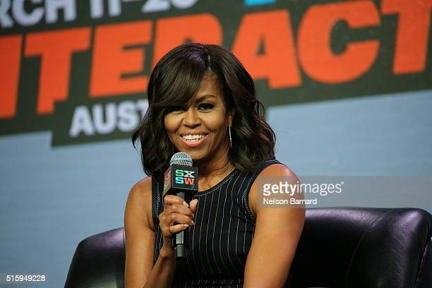 First Lady Michelle Obama speaks on stage during the SXSW Keynote Michelle Obama during 2016 SXSW Music Film Interactive Festival at Austin...