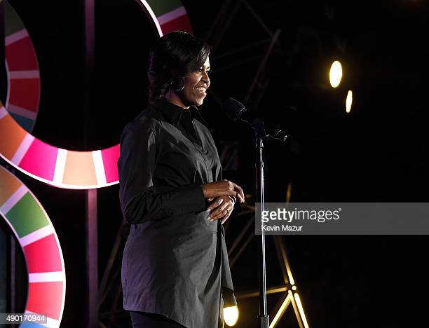 First Lady Michelle Obama speaks onstage during 2015 Global Citizen Festival to end extreme poverty by 2030 in Central Park on September 26 2015 in...
