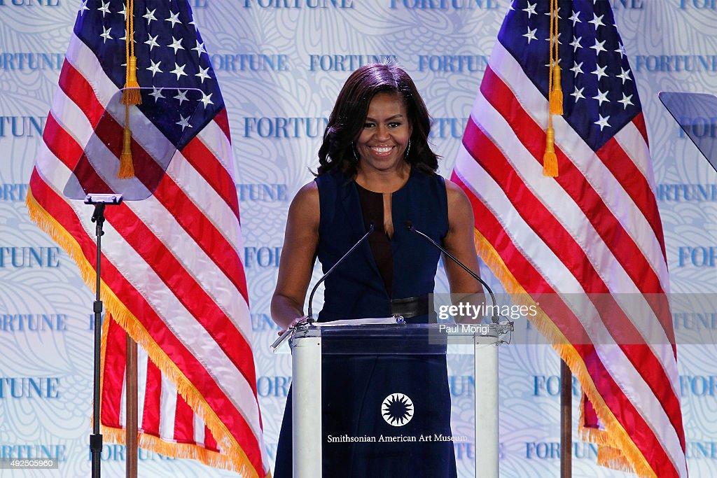 U.S. First Lady <a gi-track='captionPersonalityLinkClicked' href=/galleries/search?phrase=Michelle+Obama&family=editorial&specificpeople=2528864 ng-click='$event.stopPropagation()'>Michelle Obama</a> speaks onstage during Fortune's Most Powerful Women Summit - Day 2 at The Robert and Arlene Kogod Courtyard on October 13, 2015 in Washington, DC.