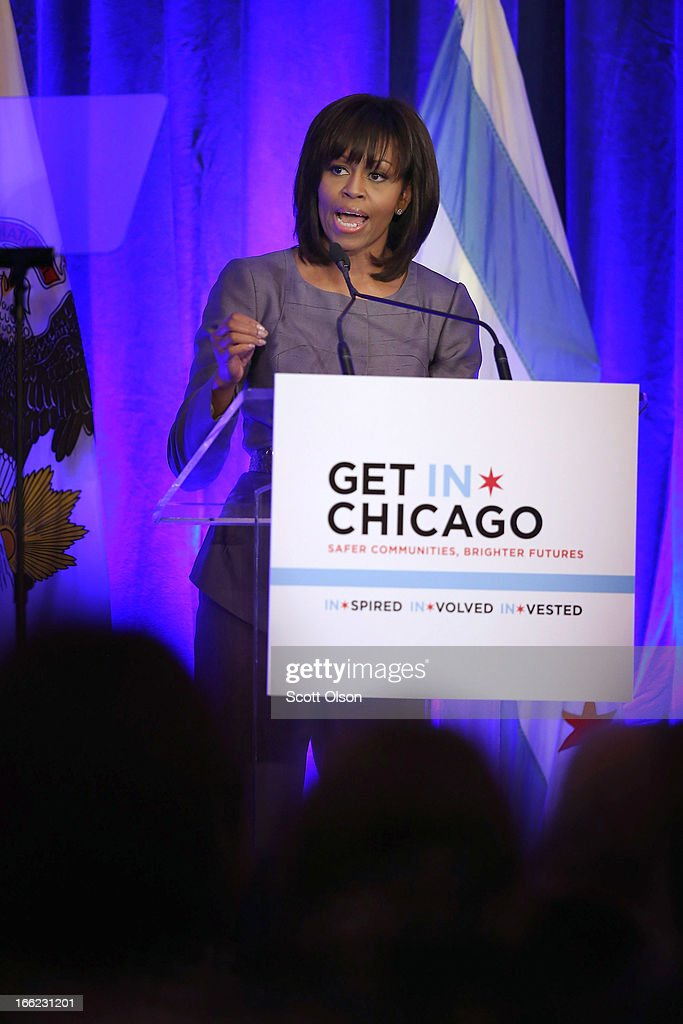 First lady Michelle Obama speaks to guests about combating youth violence at a luncheon April 10, 2013 in Chicago, Illinois. According to published reports Chicago has had 79 murders in 2013. Twenty-seven of the victims have been under 21-years-old, the most recent victim was fourteen-year-old Michael Orozco who died April 7, from two gunshot wounds to his chest. A 17 and a 19-year-old are in custody for Orozco's murder.