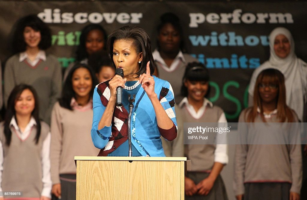 U.S. first Lady <a gi-track='captionPersonalityLinkClicked' href=/galleries/search?phrase=Michelle+Obama&family=editorial&specificpeople=2528864 ng-click='$event.stopPropagation()'>Michelle Obama</a> speaks to students during a visit to the Elizabeth Garrett Anderson Secondary School on April 2, 2009 in Borough of Islington London, England. While world leaders' gather at the London's Docklands attend G20 leaders' summit aiming to find measures to tackle the world's financial crisis, the U.S.'s first Lady has attended several events scheduled around the city.