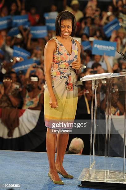 First Lady Michelle Obama speaks to supporters at the War Memorial Auditorium on August 22 2012 in Fort Lauderdale Florida