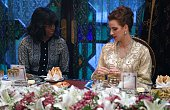 US first lady Michelle Obama speaks with Princess Lalla Salma of Morocco during a dinner in Marrakech on June 28 2016 US First Lady Michelle Obama...