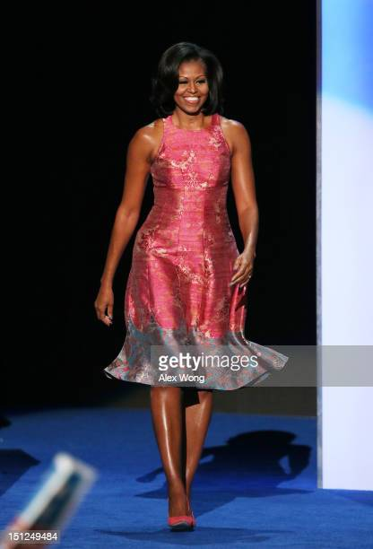First lady Michelle Obama takes the stage during day one of the Democratic National Convention at Time Warner Cable Arena on September 4 2012 in...
