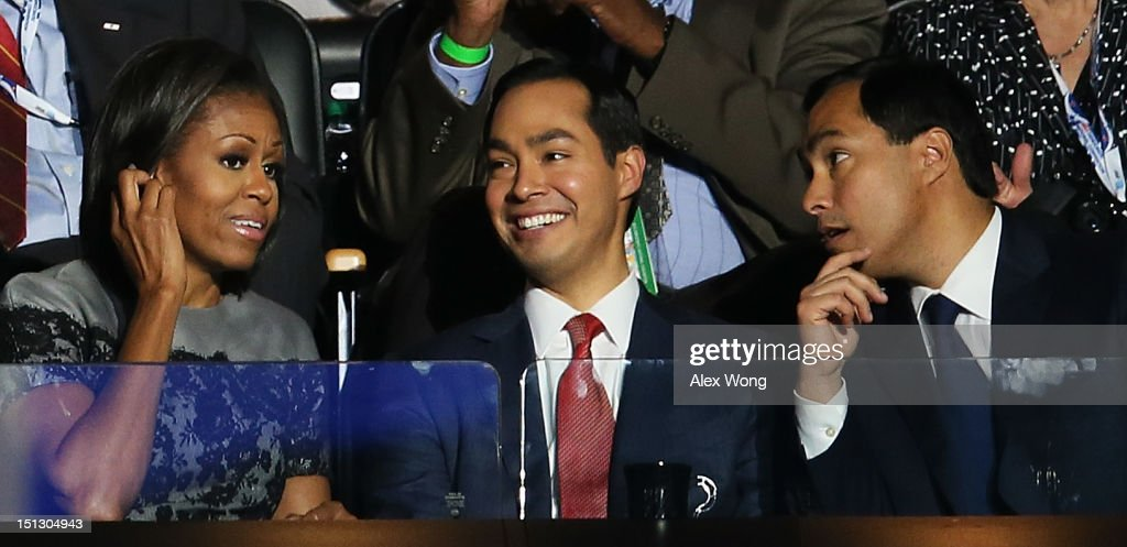 First lady <a gi-track='captionPersonalityLinkClicked' href=/galleries/search?phrase=Michelle+Obama&family=editorial&specificpeople=2528864 ng-click='$event.stopPropagation()'>Michelle Obama</a> talks with San Antonio Mayor Julian Castro (C) and his brother Joaquin Castro during day two of the Democratic National Convention at Time Warner Cable Arena on September 5, 2012 in Charlotte, North Carolina. The DNC that will run through September 7, will nominate U.S. President Barack Obama as the Democratic presidential candidate.