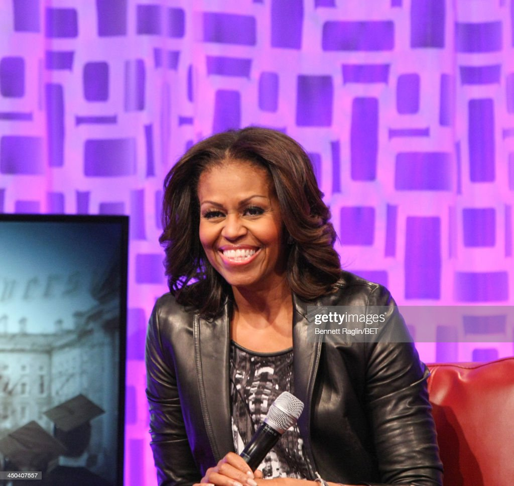 First Lady <a gi-track='captionPersonalityLinkClicked' href=/galleries/search?phrase=Michelle+Obama&family=editorial&specificpeople=2528864 ng-click='$event.stopPropagation()'>Michelle Obama</a> visits 106 & Park at BET Studios on November 18, 2013 in New York City.