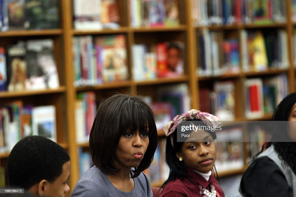 First lady Michelle Obama visits Harper High School in the Englewood neighborhood to talk with students about the plague of violence in their area April 10, 2013 in Chicago, Illinois. According to published reports Chicago has had 79 murders in 2013. Twenty-seven of the victims have been under 21-years-old, the most recent victim was fourteen-year-old Michael Orozco who died April 7, from two gunshot wounds to his chest. A 17 and a 19-year-old are in custody for Orozco's murder.