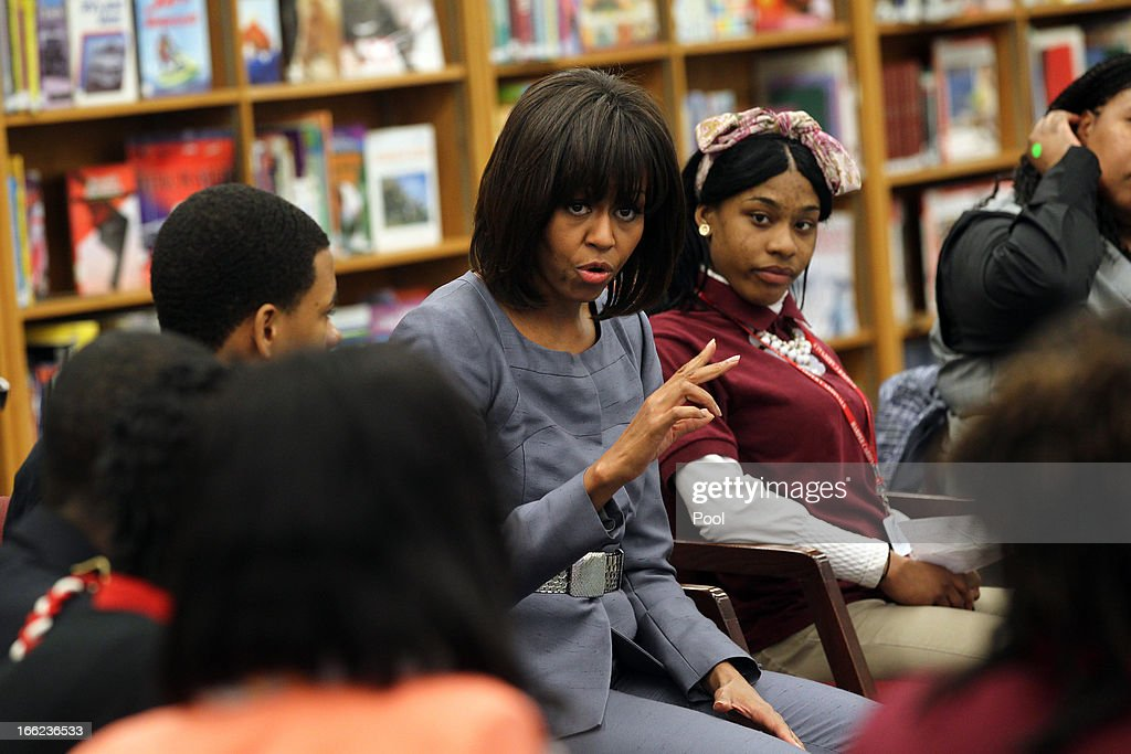 First lady <a gi-track='captionPersonalityLinkClicked' href=/galleries/search?phrase=Michelle+Obama&family=editorial&specificpeople=2528864 ng-click='$event.stopPropagation()'>Michelle Obama</a> visits Harper High School in the Englewood neighborhood to talk with students about the plague of violence in their area April 10, 2013 in Chicago, Illinois. According to published reports Chicago has had 79 murders in 2013. Twenty-seven of the victims have been under 21-years-old, the most recent victim was fourteen-year-old Michael Orozco who died April 7, from two gunshot wounds to his chest. A 17 and a 19-year-old are in custody for Orozco's murder.