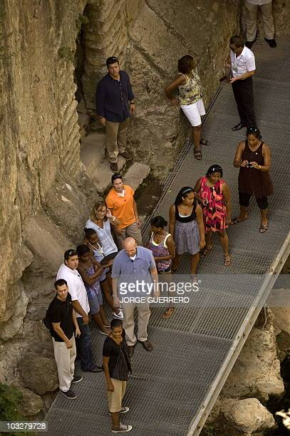 US First Lady Michelle Obama visits the 'Casa del Rey Moro' in the Spanish southern city of Ronda on August 7 2010 during her vacation in Spain US...