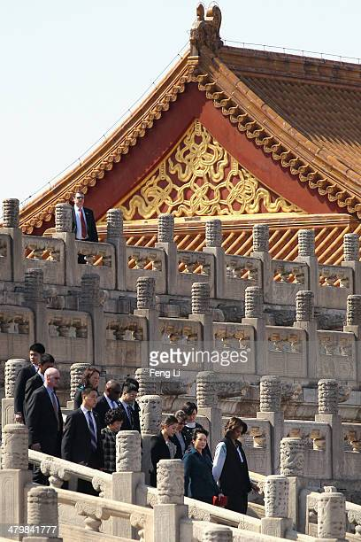 S First Lady Michelle Obama visits the Forbidden City accompanied by Peng Liyuan wife of Chinese President Xi Jinping on March 21 2014 in Beijing...