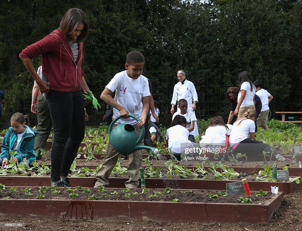 White House Kitchen Garden Schoolchildren Help Michelle Obama Plant 7th White House Kitchen