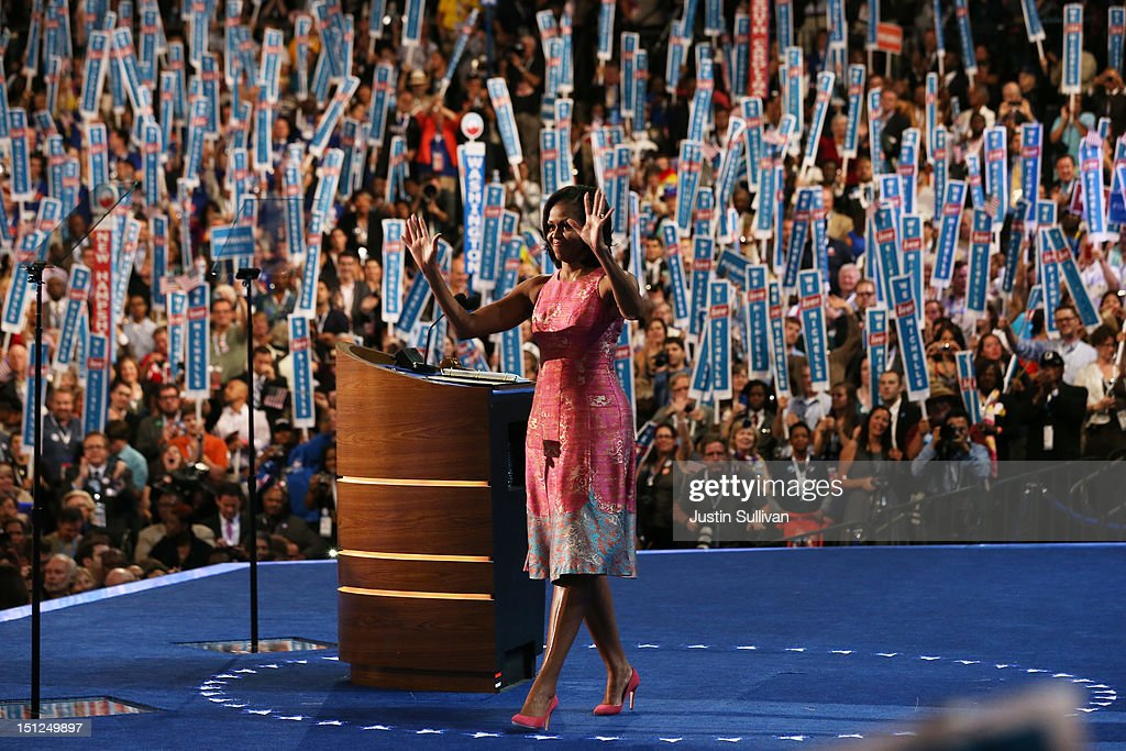First lady <a gi-track='captionPersonalityLinkClicked' href=/galleries/search?phrase=Michelle+Obama&family=editorial&specificpeople=2528864 ng-click='$event.stopPropagation()'>Michelle Obama</a> waves on stage after speaking during day one of the Democratic National Convention at Time Warner Cable Arena on September 4, 2012 in Charlotte, North Carolina. The DNC that will run through September 7, will nominate U.S. President Barack Obama as the Democratic presidential candidate.