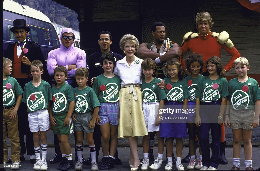 First Lady Nancy Reagan at 'Just Say No' rally against drugs.