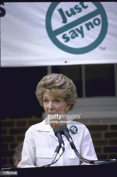 First Lady Nancy Reagan at 'Just Say No' rally against drugs