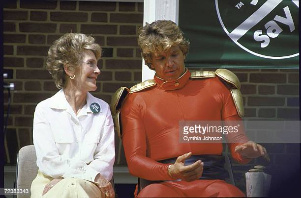 First Lady Nancy Reagan at 'Just Say No' rally against drugs with fictional character 'Flash Gordon'